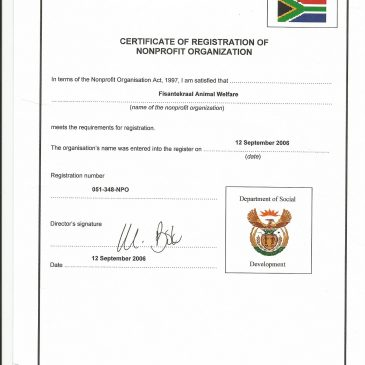 FAW Non-Profit Organisation Certificate