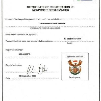 NPO certificate